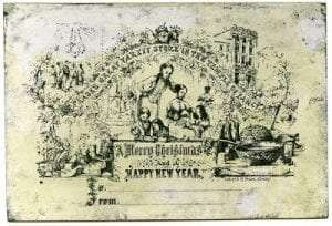 "America's First Christmas Card, Designed and printed by Richard H. Pease for his ""Pease's Great Variety Store in the Temple of Fancy"" c.1851. Image courtesy of Manchester Metropolitan University Special Collections."