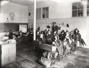 Schoolroom with Students Wrapped for Warmth