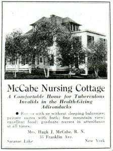 Advertisement for McCabe Cottage from the Journal of Outdoor Life. Courtesy of Historic Saranac Lake