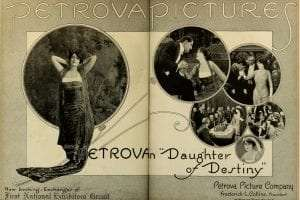 Advertisement in Moving Picture World, Nov 1917 for the American film Daughter of Destiny (1917). Public Domain.
