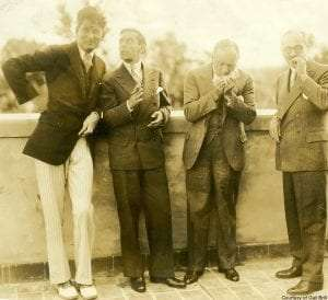 Dr. Edgar Mayer, actor Eddie Cantor, possibly Al Jolson, theatrical agent William Morris. Courtesy of Gail Brill.