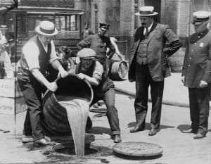 Dumping beer courtesy Library of Congress