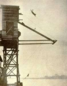 Hutchison making a dive for The Great Gamble (1919)