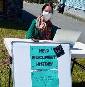 "Kayt Gochenaur collecting stories for Historic Saranac Lake's ""Saranac Lake in the Time of Covid"" project. Courtesy of Historic Saranac Lake"