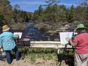 Diane Davis (left) and Donna Stoner (right) show off their Plein Air skills in Forestport