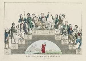 The Drunkard's Progress: A lithograph by Nathaniel Currier supporting the temperance movement, January 1846