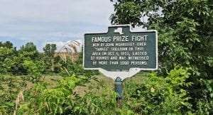 Famous Prize Fight historical marker in Boston Corners provided by Columbia County Historical Society