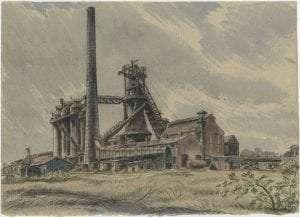 Blast furnace watercolor by Edgar Holloway
