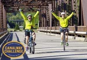 Cyclists on the Canalway Trail