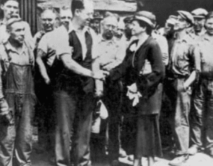 Frances Perkins meets with American workers