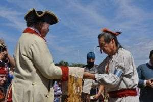 Historic interpreters portray trade and diplomacy between a French soldier and Native American