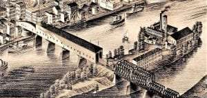 Green Island Bridge shown in the close-up of a birds eye engraving with the west end already converted to steel trusses