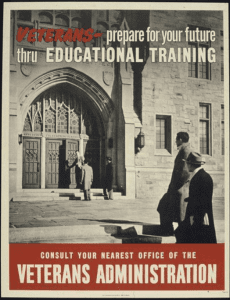 government poster informing soldiers about the GI Bill