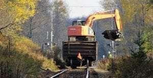No. 1845 a work train crosses Dayton Road near Remsen Oct 23 2020 John Koslosky