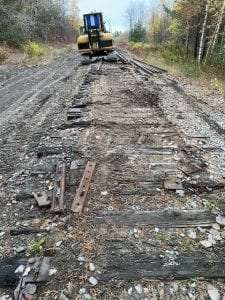 Removing New York Central Railroad Adirondack Division Rails October 2020 DEC Photo