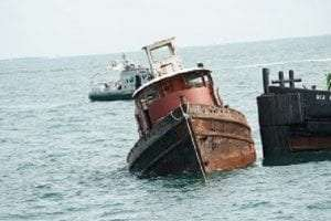 tugboat being deployed at Hempstead Reef