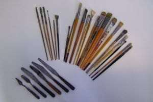 paintbrushes and palate knives used by Johann Berthelsen
