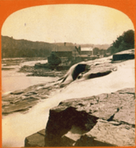 Brown Woolen Mill as seen from Palmer Falls circa 1865
