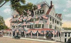 Former president Teddy Roosevelt spoke from the first-floor balcony of the Liberty House on October 23, 1914