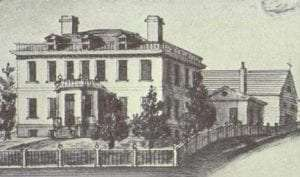 Watercolor drawing of the Schuyler Mansion made by Philip Hooker in 1818