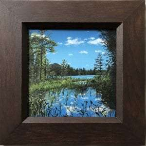 "Mina Clark, 5x5"", framed acrylic painting, ""Another Lost Pond"""