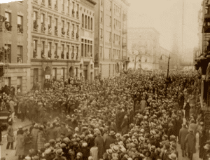 Crowds in the streets of Harlem attending Florences funeral