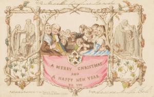 First Xmas card by John Callcott Horsley