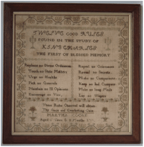Sampler by Martha Cooke Twelve Good Rules 1811