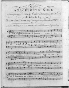 The Anacreontic Song published in 1784 by Anne Bland