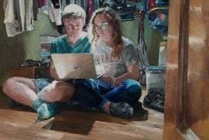 Watching the Healthcare Debate -No Pre-existing Conditions Allowed, oil on wood panel, 11 x 16 inches by Susan Hoffer