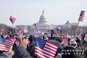 crowd waves flags at the 2016 inauguration by Ted Eytan