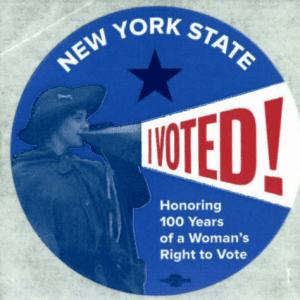 "New York's ""I Voted"" sticker in 2017 featuring Rosalie Jones"