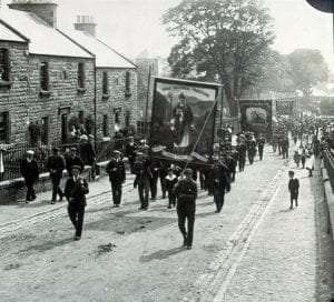 late nineteenth century St. Patrick's Day Parade in scotland