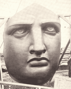 An anonymous photograph of the arrival of the Stature of Libertys face in 1885 on Bedloes Island
