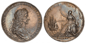 Commemorative silver medal by John Roettiers showing Charles II and Britannia