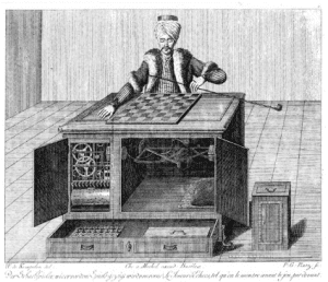 The Turk showing the open cabinets and working parts
