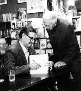 Alf signing a book