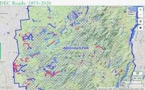 Analysis of NYS DEC Roads in the Adirondacks 1973-2020 Courtesy Adirondack Atlas