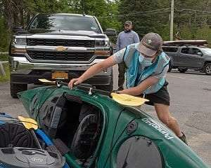 Boat stewards assist the public with checking their watercraft for aquatic invasive species