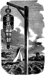 Captain William Kidd gibbeted on the Thames near Tilbury