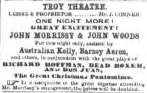 Dec 29 1858 Troy Whig Morrissey Theatre Advert