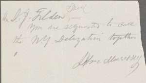 Handwritten Note from John Morrissey to to Samuel Tilden (NYPL)