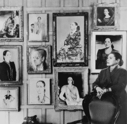 Helena with some of the portraits she commissioned