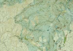 map of the Rondout and Neversink Watershed areas with the shaded areas showing glacier deposits