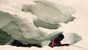 Bob Allers in a glacier crevasse
