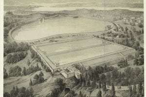 Drawing with aerial view of the two rectangular-shaped reservoir basins built in NYC in 1842