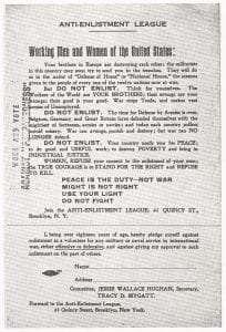 Anti-Enlistment League flyer