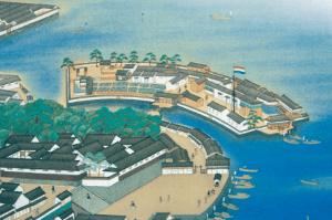 Dutch flag at the man-made island of Dejima in Nagasaki Bay