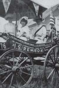 "Edna Buckman Kearns, Serena Kearns, and Irene Davison on the ""Spirit of 1776"" suffrage wagon"