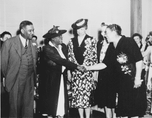 Mary McLeod Bethune, Mrs. Eleanor Roosevelt and others at the opening of Midway Hall